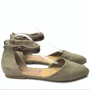 Blowfish flat size 11 taupe canvas ankle strap